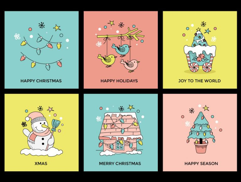Merry Christmas and Happy Holidays Illustrations