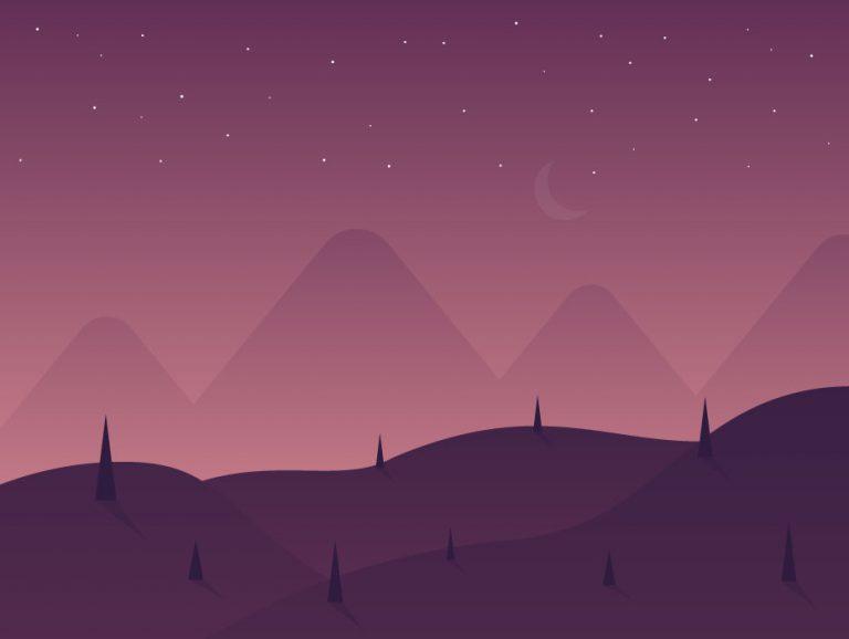 Night Time Landscape Illustration