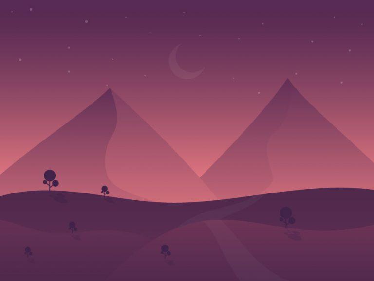 Night Time Vector Landscape