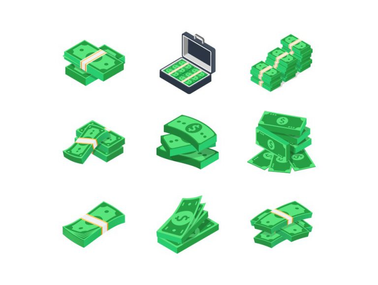 Stacks of Money Vector Icons